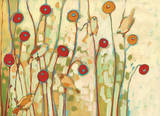 Five Little Birds Playing Amongst the Poppies Poster by Jennifer Lommers