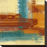 Red Retro Car Stretched Canvas Print by Yashna 