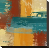 Blue Retro Car Stretched Canvas Print by Yashna 