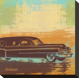 Brown Retro Car I Stretched Canvas Print by Yashna 