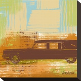 Brown Retro Car II Stretched Canvas Print by Yashna 