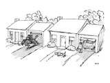 As man opens garage door to get in car, his neighbor charges out of his ga… - New Yorker Cartoon Premium Giclee Print by George Booth