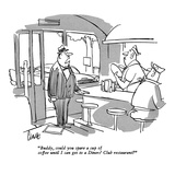 """Buddy, could you spare a cup of coffee until I can get to a Diners' Club …"" - New Yorker Cartoon Premium Giclee Print by Claude Smith"