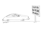 Road sign says 'Caution Big Mistake 1 Mi. Ahead.' - New Yorker Cartoon Premium Giclee Print by Ed Arno