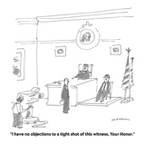 """""""I have no objections to a tight shot of this witness, Your Honor."""" - Cartoon Giclee Print by Michael Maslin"""