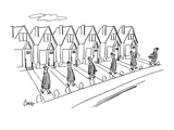 Row of identical houses; all the husbands are coming home from work, One h… - New Yorker Cartoon Premium Giclee Print by Claude Smith