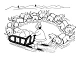 Eskimo on dog sled; the dogs are running around in a circle and are coming… - New Yorker Cartoon Premium Giclee Print by Otto Soglow
