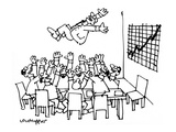 Boardroom tossing their boss up in the air because a graph of their busine… - New Yorker Cartoon Premium Giclee Print by Lou Myers