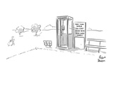 A sign next to an outdoor telephone booth on a golf course: 'How Long Sinc… - New Yorker Cartoon Premium Giclee Print by Richard Decker
