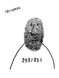 Prisoner with number across chest has thumb print as a face. - New Yorker Cartoon Premium Giclee Print by Saul Steinberg