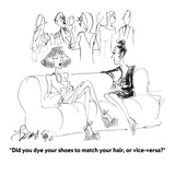 """Did you dye your shoes to match your hair, or vice-versa"" - Cartoon Regular Giclee Print by Edward Frascino"