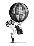 Man in old-fashioned hot air balloon reaches down to buy a child's balloon… - New Yorker Cartoon Premium Giclee Print by Anthony Taber