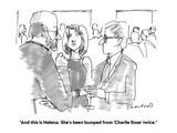 """And this is Helena. She's been bumped from 'Charlie Rose' twice."" - Cartoon Regular Giclee Print by Michael Crawford"