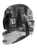 Man playing golf in living room on Sunday morning, watches a sermon on tel… - New Yorker Cartoon Premium Giclee Print by Richard Decker