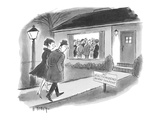 Couple going to cocktail party in the suburbs observe sign on lawn: 'No El… - New Yorker Cartoon Premium Giclee Print by Barney Tobey