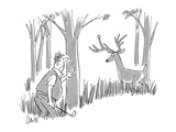 Golfer is in the rough looking for his golf ball and finds it stuck on a d… - New Yorker Cartoon Premium Giclee Print by Claude Smith