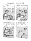 Four panels showing how different universes might coexist; centers on basi… - New Yorker Cartoon Premium Giclee Print by Roz Chast