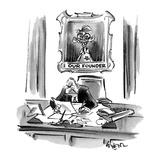 Executive sitting at desk with a portrait behind him of an imbicile titled… - Cartoon Regular Giclee Print by Lee Lorenz