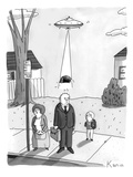 A man has his toupee abducted by aliens traveling in a spacecraft while wa… - New Yorker Cartoon Premium Giclee Print by Zachary Kanin