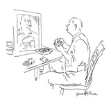 Man holding cards, sits in front of mirror practicing his poker face. - New Yorker Cartoon Premium Giclee Print by Garrett Price