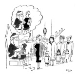Santa Claus in department store holding little kid on his lap has mental i… - New Yorker Cartoon Premium Giclee Print by Anatol Kovarsky
