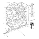 "Parking garage has sign ""Sorry Full"" and the cars are stacked on top of ea… - New Yorker Cartoon Premium Giclee Print by Charles E. Martin"