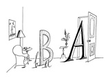 Upper and lower case A's and B's in a living room setting. - New Yorker Cartoon Premium Giclee Print by Saul Steinberg