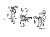 Golfer whose ball is behind a tree is handed a saw by his caddy. - New Yorker Cartoon Premium Giclee Print by Douglas Florian
