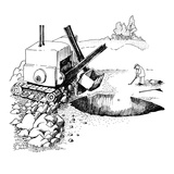 Golfer putts ball into huge hole dug  by steamshovel. - New Yorker Cartoon Premium Giclee Print by Richard Oldden