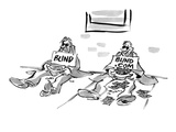 Two blind men sitting on sidewalk. One sign reads, 'Blind' and the other r… - Cartoon Regular Giclee Print by Lee Lorenz
