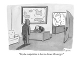 The devil stands before a male secretary / receptionist  in front of God's… - New Yorker Cartoon Premium Giclee Print by Zachary Kanin