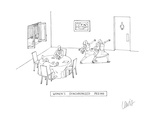 While at a restaurant, two women go to the bathroom in a harmonized and id… - Cartoon Regular Giclee Print by Eric Lewis