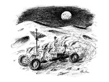 Eight moon-men racing around in the lunar rover left behind by the astrona… - New Yorker Cartoon Premium Giclee Print by Alan Dunn