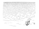 Artist sitting beside the sea. Nothing but water infront of him. He has hi… - New Yorker Cartoon Premium Giclee Print by Robert J. Day