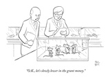 Two scientists in lab coats observe a group of caged lab rats who are also… - New Yorker Cartoon Premium Giclee Print by Paul Noth