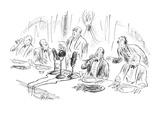 Man about to take a bite of celery during radio broadcast of a speech at a… - New Yorker Cartoon Premium Giclee Print by Alan Dunn