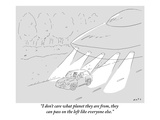 """I don't care what planet they are from, they can pass on the left like ev…"" - New Yorker Cartoon Premium Giclee Print by Kim Warp"