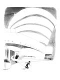 Boy rides out of Guggenheim Museum on a skateboard. - New Yorker Cartoon Premium Giclee Print by James Stevenson