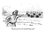"""Run for your lives! It's the full 'Ring' cycle!!"" - New Yorker Cartoon Premium Giclee Print by Kaamran Hafeez"