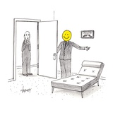 Man with smiley face opens door for man with Munch's scream head.  - Cartoon Regular Giclee Print by Tom Cheney