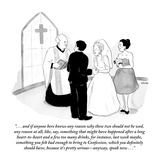 """"""". . . and if anyone here knows any reason why these two should not be wed…"""" - New Yorker Cartoon Premium Giclee Print by Emily Flake"""