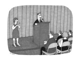 A man presents a speech, while a woman uses sexual symbols as sign languag - Cartoon Regular Giclee Print by J.C. Duffy