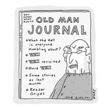 A publication titled 'Old Man Journal' lists content mostly regarding WWII… - Cartoon Regular Giclee Print by Kim Warp