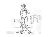 Sculpture at museum lifting shirt and pulling on bottoms with a sign that … - Cartoon Giclee Print by Carolita Johnson