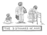 Three images of a baby, businessman, and hunched over man holding a walker… - New Yorker Cartoon Premium Giclee Print by Paul Karasik