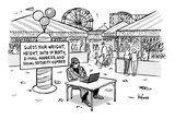 A sketchy-looking man sits at a table in a carnival with a sign behind tha… - New Yorker Cartoon Premium Giclee Print by Kaamran Hafeez