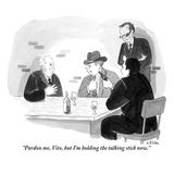"""Pardon me, Vito, but I'm holding the talking stick now."" - New Yorker Cartoon Premium Giclee Print by Emily Flake"