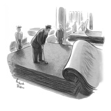 Man practices his putting on a variety of carpet surfaces as his wife and … - New Yorker Cartoon Premium Giclee Print by Richard Decker