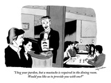 """I beg your pardon, but a mustache is required in the dining room. Would y…"" - New Yorker Cartoon Giclee Print by Andy Friedman"