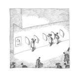 Several people standing in pseudo phone booths miming conversation with th… - Cartoon Regular Giclee Print by John O'brien